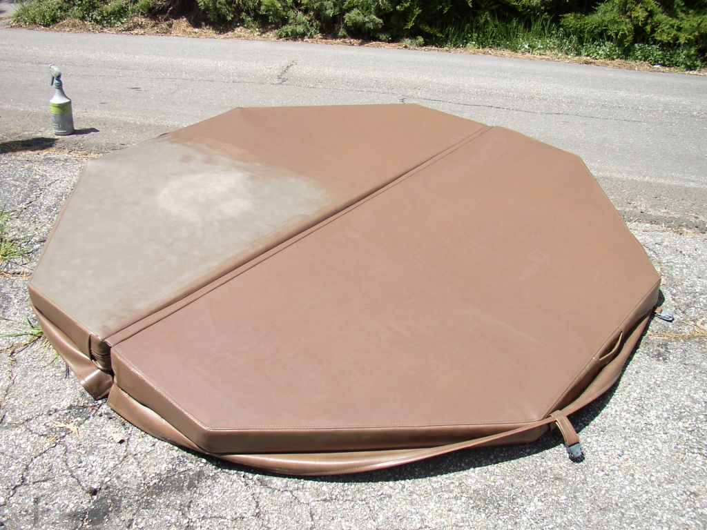 Image of hot tub cover during application of marine vinyl protector