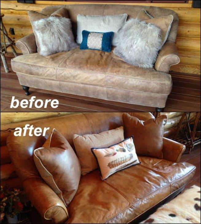 Picture of aniline leather couch restored with Clear Prep+Finish