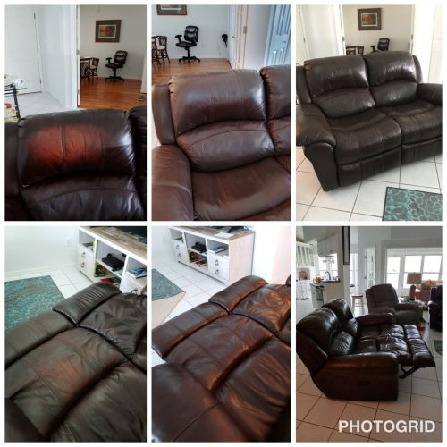 Collage of faded leather furniture fixed with Rub n Restore Mahogany dye