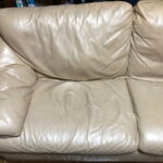 Leather couch after repair and recoloring with Rub n Restore