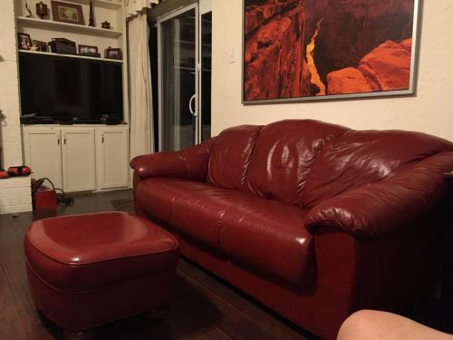 Picture of restored red couch and ottoman