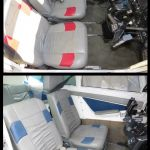 Before and after picture of vinyl upholstery recolored with Rub n Restore
