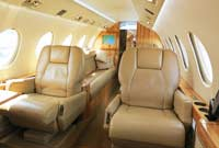 Picture of airplane, corporate jet leather upholstery and interior
