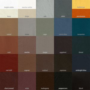 Leather and vinyl dye color swatches.