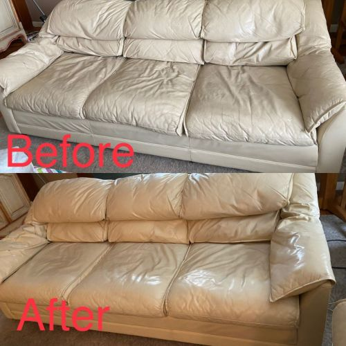 Before-after picture showing leather couch restored with Beige Rub n Restore leather paint