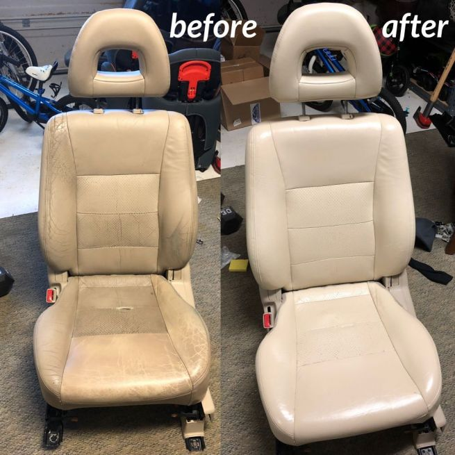 Before and after photo of recolored and restored car seats