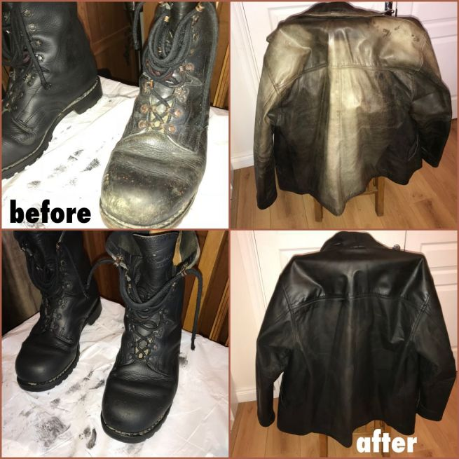 Collage of leather boots and leather jacket before and after black Rub n Restore leather dye