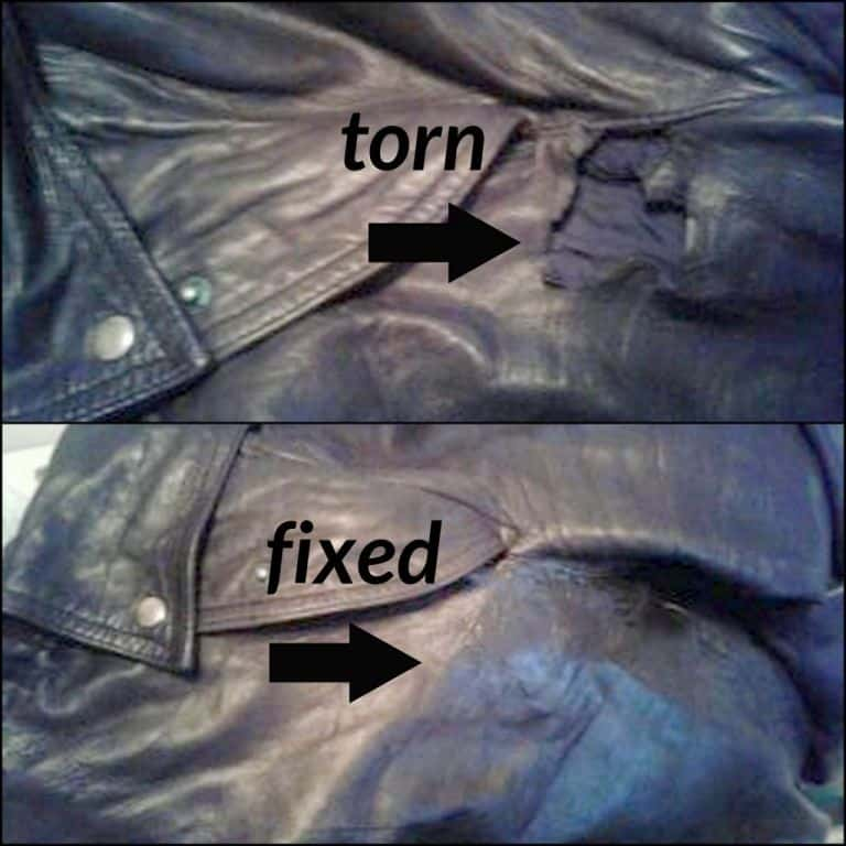 Black leather pants that have been repaired with leather filler compound.