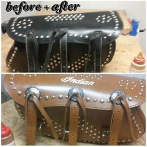 Black leather saddlebags refurbished with leather dye