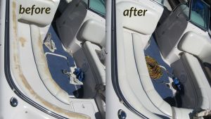 This boat upholstery was damaged by an abrasive bleach cleaner.
