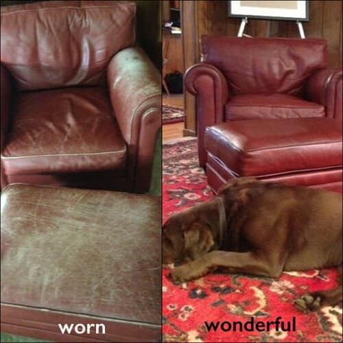 Before and after photo leather chair restoration