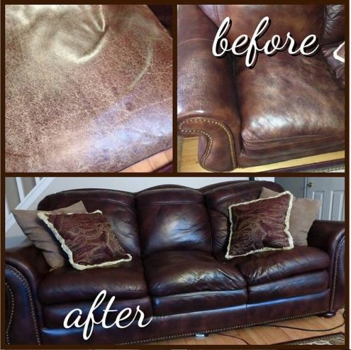Before and after photos of restored leather sofa