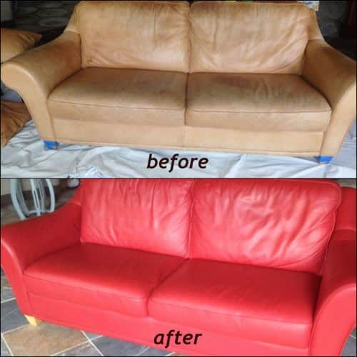 Before and after photo of a couch that has been recolored from tan to red.