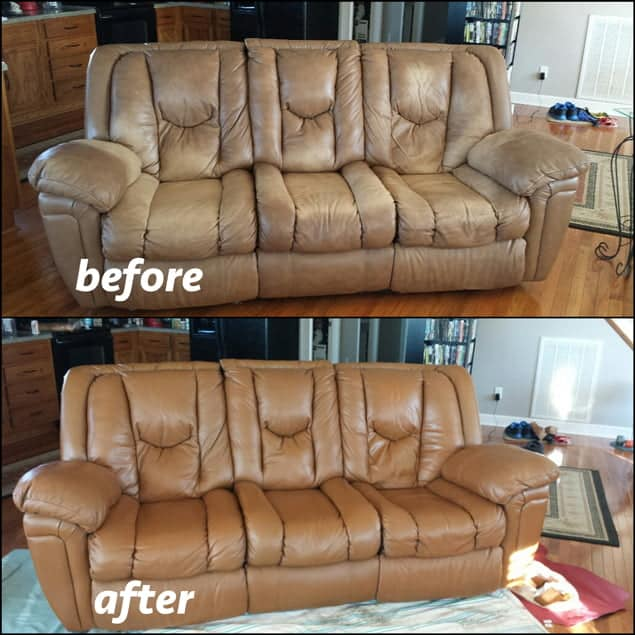 A leather couch that has been restored with cognac brown dye before and after photos