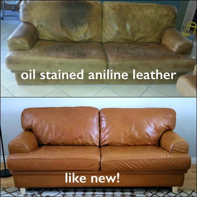 Before picture of oil stained aniline leather couch and after Cognac Rub n Restore