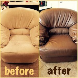 A leather chair restoration with cognac brown color before and after photo