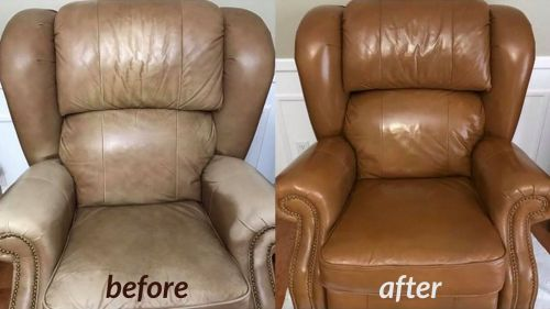 Before and after leather chair is colored with cognac dye