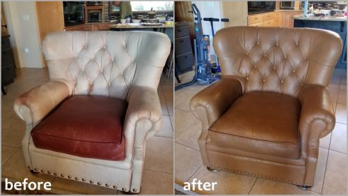 Leather chairs recolored with cognac dye