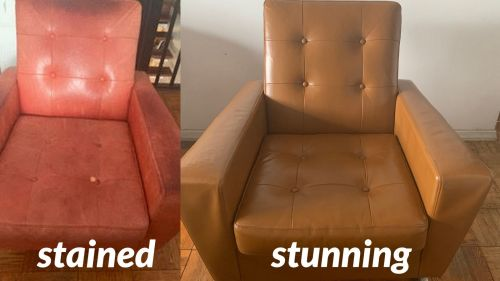 Before and after photos of a leather chair that has been recolored