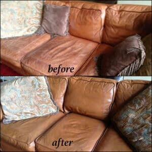 A leather sofa that has been restored with cognac brown dye before and after photos