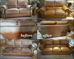 Leather furniture restoration before and after photo with cognac color