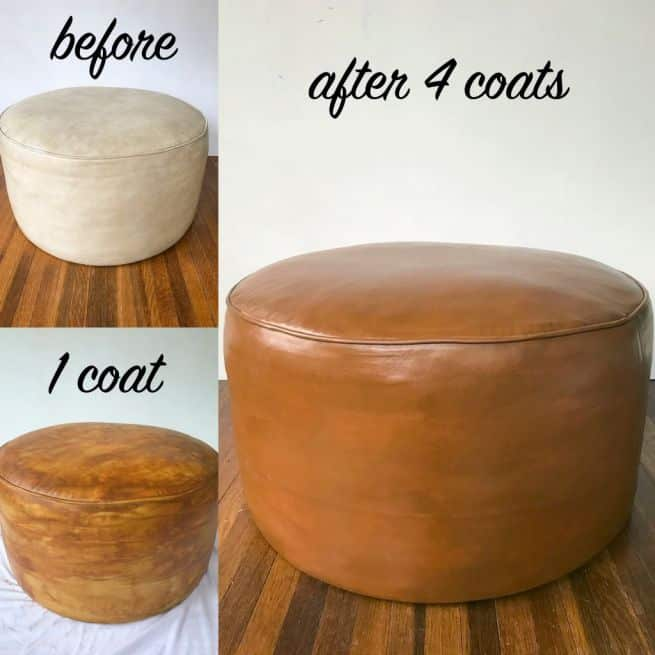 Before and after pictures of white vinyl ottoman changed to Cognac with Rub n Restore vinyl paint