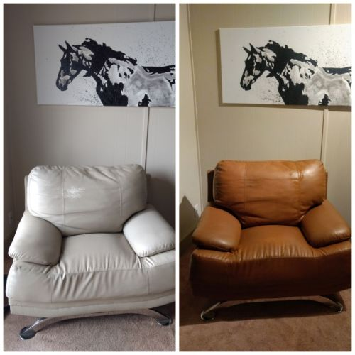 Before-after photo of white leather chair changed to cognac with Rub n Restore