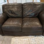 Leather love seat dark brown color before color change.