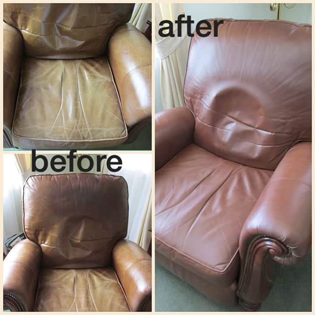 Before and after photos of leather chair restored with custom brown color