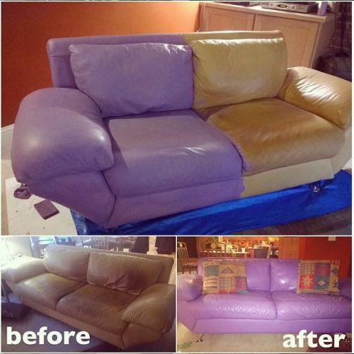 Before and after photo of leather couch colored purple