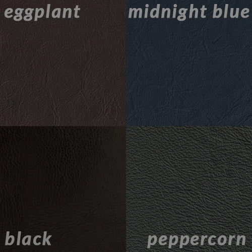 Info graphic comparing Black to dark grey Peppercorn, dark purple Eggplant and Midnight Blue