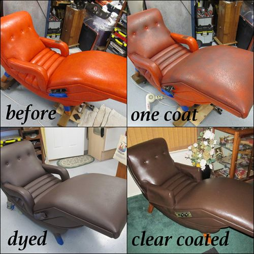 The process of dying a leather chair