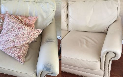 Before and after repairs with leather filler compound