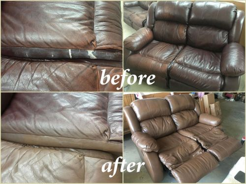 Leather love seat before and after photo of restoration.