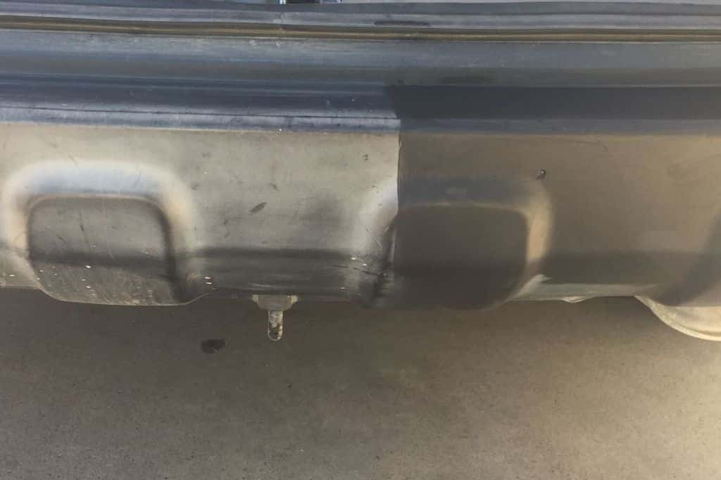 A honda car bumper that has been restored.