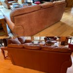 Before-after of backside of leather couch restored with Rub n Restore
