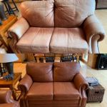 Before-after of leather sofa restored with Rust Rub n Restore leather dye