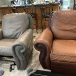 Leather chair before and after recolor.