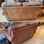 Before-after of back of leather sofa restored with Rust Rub n Restore leather paint