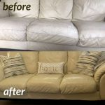 Before and after photo of a couch recolored with Rub 'n Restore.