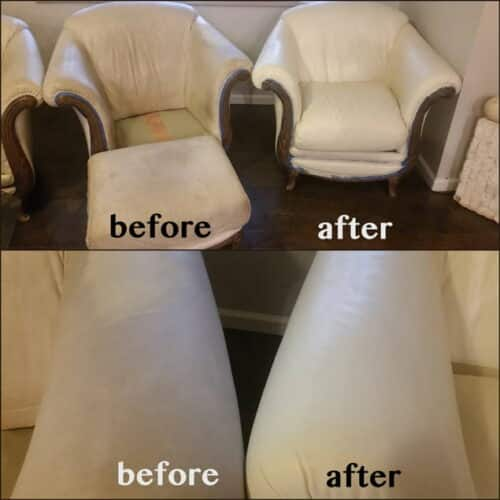 Ivory colored leather chair restored