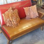 Leather settee after