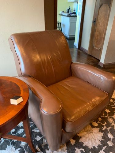 Picture of leather chair after filler repair and Walnut Rub n Restore