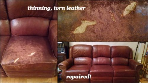 Leather chair patch and repair photo