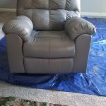 Picture of leather recliner chair after Slate Rub n Restore leather paint