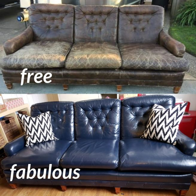 Before and after photo of a leather couch that has been restored to a blue color.