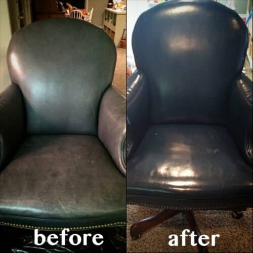 Before and after color restoration on a chair with blue dye