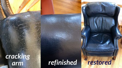 Photo composite of a blue leather chair being restored.