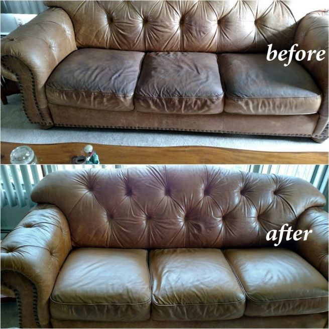 Before and after photo of a couch that has been restored with mocha color dye.