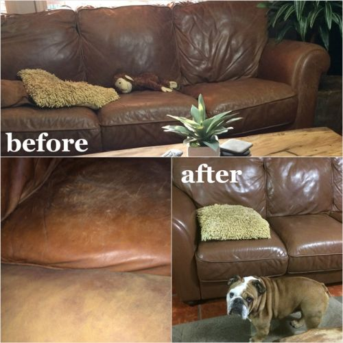 Before and after photo of mocha colored couch restoration